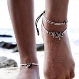 跨境欧美新款 民族复古风海星符文om瑜伽吊坠脚链 沙滩脚环