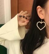 原宿软萌复古几何心形爱心桃心甜美珍珠耳环