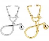 欧美简约几何医生听诊器创意设计款胸针别针