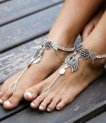 欧美时尚外贸饰品 简约花朵镂空雕花水滴形流苏新款脚链脚环