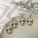 韩国人脸个性珍珠设计款耳钉耳环