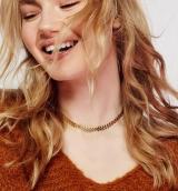 欧美跨境气质时尚鱼骨链新款热卖亮片短款项链 纹身链锁骨链