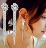 S925银针韩国方情 时尚气质女款 水晶流苏耳环 气质新娘耳饰