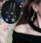 时尚锆石闪亮五角星流苏耳钉 美美的