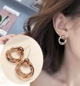 玫瑰金时尚闪耀环形圆圈耳环耳钉 气质耳钉女