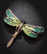 欧美蜻蜓胸针胸花 高档合金滴油镶钻昆虫胸针 速卖通热销