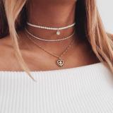 欧美珍珠满钻桃心吊坠多层项链
