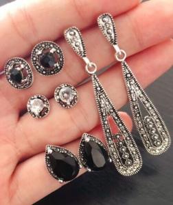 欧美新款波西米亚黑钻复古4对耳钉套装组合