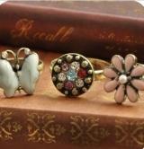 (圆形彩钻款)欧美饰品 复古彩钻 花朵蝴蝶戒指 指环