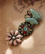 复古 彩釉花朵蝴蝶镶钻 胸针