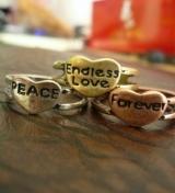 (古银Peace) 街拍潮人必配·Endless love.Peace forever戒指