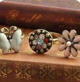 (粉色花朵款)欧美饰品 复古彩钻 花朵蝴蝶戒指 指环