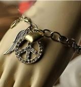 欧美复古满钻和平标志翅膀桃心手链 男女通用