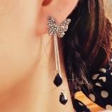 【4-7左右】韩国蝴蝶 满钻流苏长款水滴吊坠耳钉 两用 耳环 耳坠耳饰