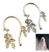 欧美流行耳饰 树叶金属质感耳挂 耳环 耳饰(单只价)