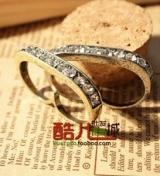 欧美外贸饰品 复古镶钻双指 指环 戒指