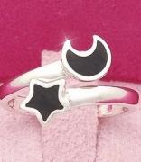 星月相伴戒指 精致黑色月亮星星开口戒指/指环