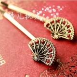复古中国风 扇子镶钻发夹 一字夹 边夹 发饰 饰品 (单个价)