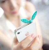 兔耳朵 水玉点点蝴蝶结造型防尘塞 iphone4