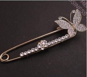 韩国饰品 高贵满钻蝴蝶胸针 精致别针 胸花 宴会必备