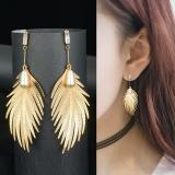 韩国个性金属叶子珍珠锆石长款耳钉