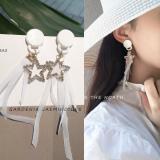 韩国五角星星锆石超仙蕾丝布条长款耳钉