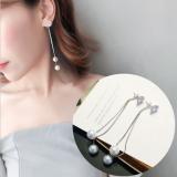 S925韩国气质长款珍珠链条夸张耳钉