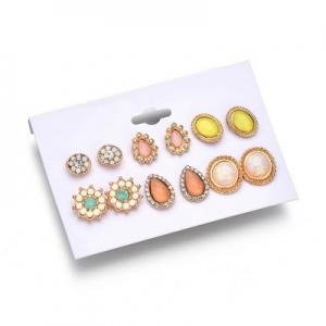欧美流行速卖通热销新款耳饰6对套装宝石耳钉
