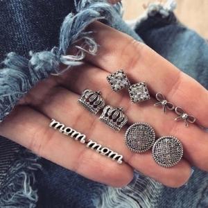 欧美复古镶钻皇冠字母mom5对套装耳钉