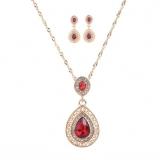 欧美宫廷奢华大宝石镶钻耳环项链套装