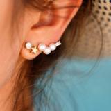 【4-6左右】韩国珍珠钻五角星个性简易耳钉