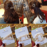 韩国新款几何珍珠bb夹边夹刘海女发卡子头饰