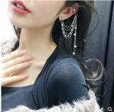 韩国珍珠耳骨钉耳环一体式耳链流苏耳环耳饰