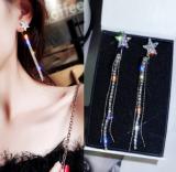 s925银针韩国网红五角星满钻流苏长款耳钉耳环