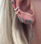 欧美简约复古猫头鹰克罗星叶子圆圈耳环耳夹戒指7件套套装