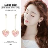 S925银针韩国时尚甜美亮片爱心气质网红长款耳钉