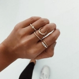 【4-6左右】欧美简约气质月亮合金细戒指环组合五件套指环