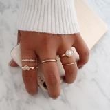 欧美跨境潮流珍珠桃心组合关节戒指五件套