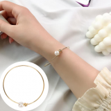 韩国新款简约个性网红高亮珍珠手圈ins百搭手镯