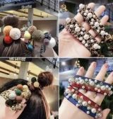 韩国豹纹发绳扎头发橡皮筋珍珠发圈发饰