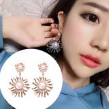 韩国大气个性太阳花珍珠水钻合金耳钉