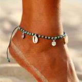 欧美跨境手工打结贝壳松石风沙滩个性脚链