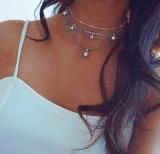 欧美波西米亚时尚五角星几何椭圆宝石吊坠多层项链