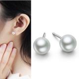 S925银针韩国个性简约小豆子6mm珍珠耳钉