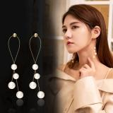 S925银针韩国珍珠流苏鱼线珍珠交叉长款耳钉