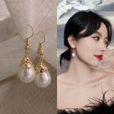 韩国简约百搭气质椭圆形珍珠耳环