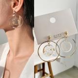 S925银针韩国复古时髦金镂空拼接圆圈树脂金箔耳钉
