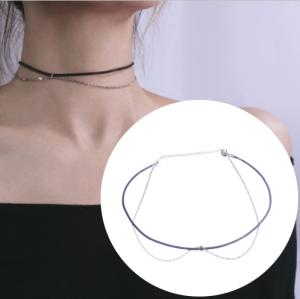 韩国双层链条黑绳简约时尚锁骨链项链