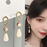 S925银针韩国奢华高级感棕色天然贝壳哑光长款耳钉