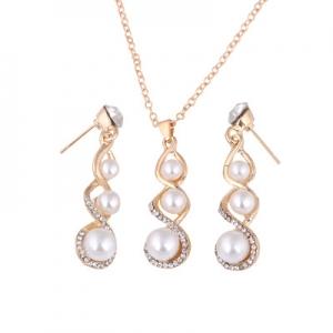韩版简约大气8字合金镶钻珍珠吊坠项链耳环套装